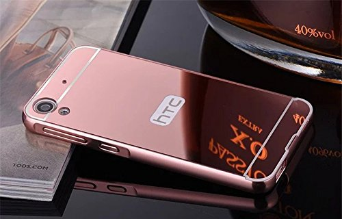 D-kandy Luxury Metal Bumper + Acrylic Mirror Back Cover Case For HTC DESIRE 728 728G - ROSE GOLD