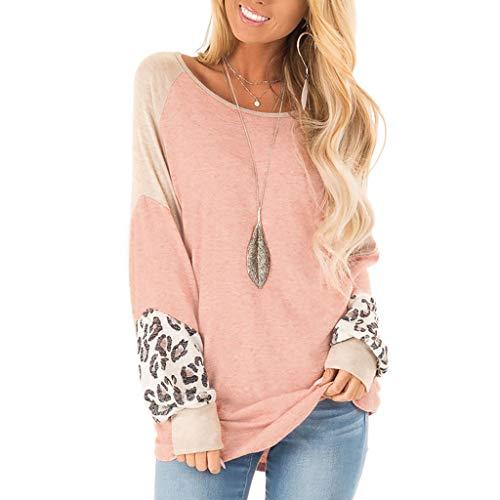 HULKY Donna Camicie Top per Donne Casual a Maniche Lunghe Leopardo Colore Tunica Signore Sciolto Rotondo Collo T Camicia(Rosa,S)