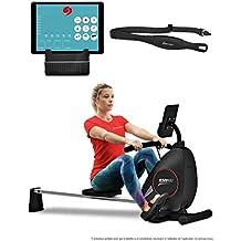Sportstech Rameur ergomètre RSX400 Compatible avec Application Smartphone, Ceinture Cardio, Pliable et Pratique, 8 Niveaux de résistance, siège avec roulements à Billes, Rail en Aluminium (Reconditionné)