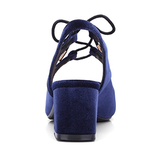 ENMAYER Femmes Nubuck Matériel Sandales Pointed-Toe Square Heels Ladies Dress Shoes Bleu Foncé