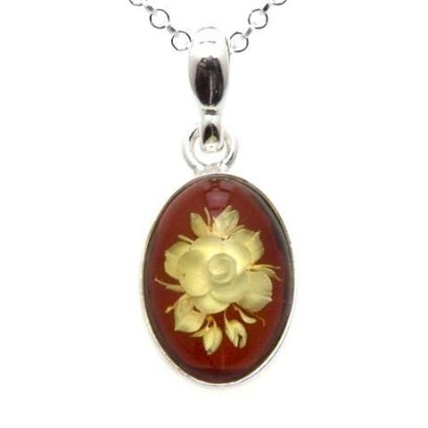 Ambre Argent sterling classique Fleur Pendentif Collier chaîne 45,7cm