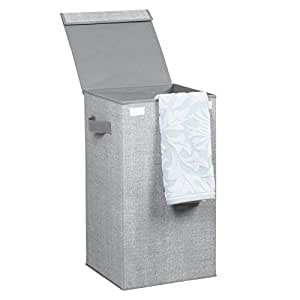 """InterDesign Aldo Folding Laundry Hamper Basket with Built-in Handles & Lid for Clothes - Portable and Foldable Bag for Compact Storage with Solid Lid â€"""" Grey"""