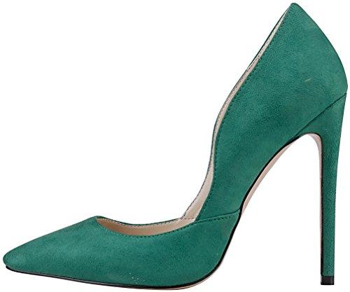 Calaier Femme Cacabbage 12CM Aiguille Glisser Sur Escarpins Chaussures Vert
