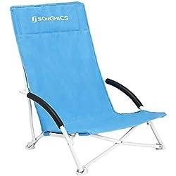 SONGMICS Chaise de Plage, Pliante, avec Dossier Haut, Pliable, Légère, Confortable, Charge Importante, Chaise d'extérieur, Bleu Clair GCB61BU