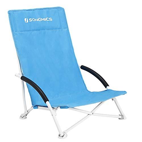 Leichte Klappstuhl (SONGMICS Strandstuhl mit hoher Rückenlehne, tragbarer Klappstuhl, klappbarer Campingstuhl, faltbar, leicht, komfortabel und hoch belastbar, Outdoor-Stuhl mit Tragetasche, hellblau GCB61BU)