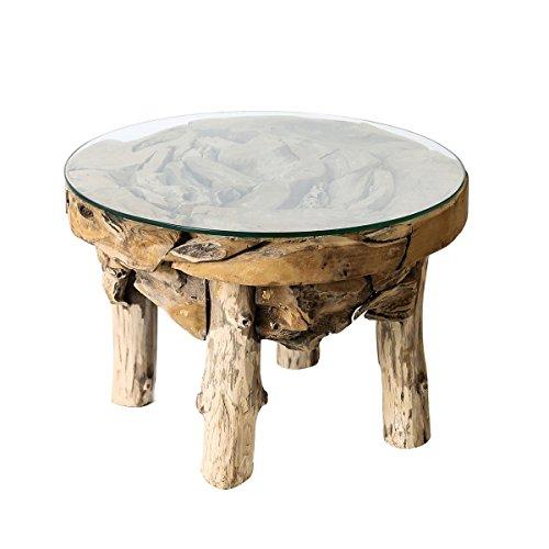 Casablanca teck table ronde avec plateau en verre D.60 cm Basse en Bois/Verre