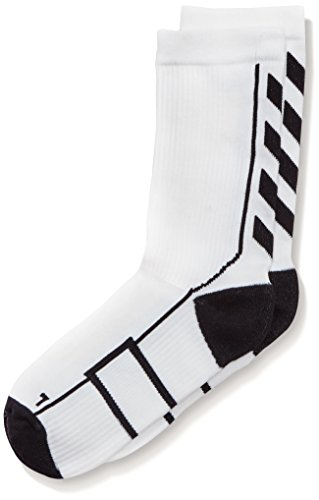 Hummel Sportsocken kurz Unisex mit Polsterung div. Farben - REFLECTOR TECH INDOOR SOCK LOW - Socken antibakteriell für Sport & Fitness - Strümpfe Mesh Belüftung, weiß (White/Black), 10, 21-074-9124