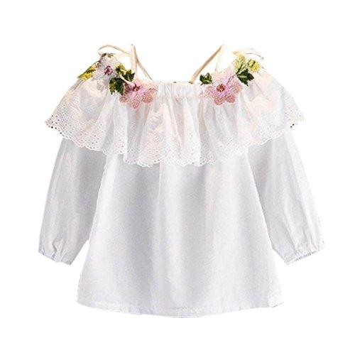 Bluse Mädchen Kolylong® 1 PC ( 2-7 Jahre alt) Kinder Baby Mädchen Herbst gestickte aus schulter bluse Langarm shirts T-Shirt Tops Outfits Party Kleid Babykleidung (130CM(6-7 Jahre alt), Weiß) (Schulter-langarm-bluse)