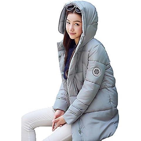 SaiDeng Casual Espesar Abrigo De Invierno Con Capucha De Manga Larga Para Mujer Gris Azul XXL