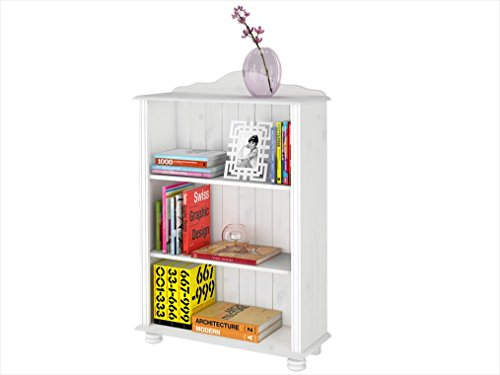 Kleines Bücherregal JASMIN Landhausstil Kiefer massiv (Massivholz) weiß lasiert (Klein, weiß)