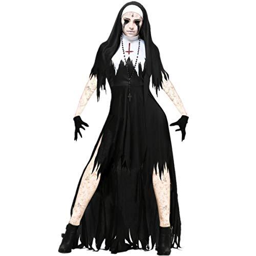 (LCXYYY Damen Nonnen Kostüm Kleid und Kopfbedeckung Halloween Costume Damen Zombie Geist Karneval)