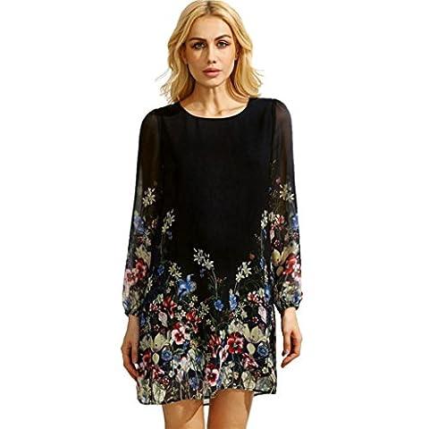 Rcool Frauen-Mehrfarbenblumen-runder Ansatz-Kleid-langes Hülsen-Blumen gedrucktes Chiffon- Kleid (XL, (Rock Im Park T Shirt)