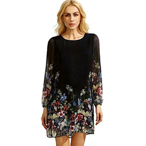 Rcool Frauen-Mehrfarbenblumen-runder Ansatz-Kleid-langes Hülsen-Blumen gedrucktes Chiffon- Kleid (XL, Schwarz) (Ideen Für Einen Dark Angel Kostüm)