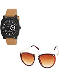 Magjons Fashion Black Analog Watch And Sunglassses Combo For Men And Women