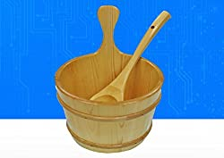 VIOY Sauna equipment solid wood sauna barrel wooden spoon accessories equipment,brown,One size