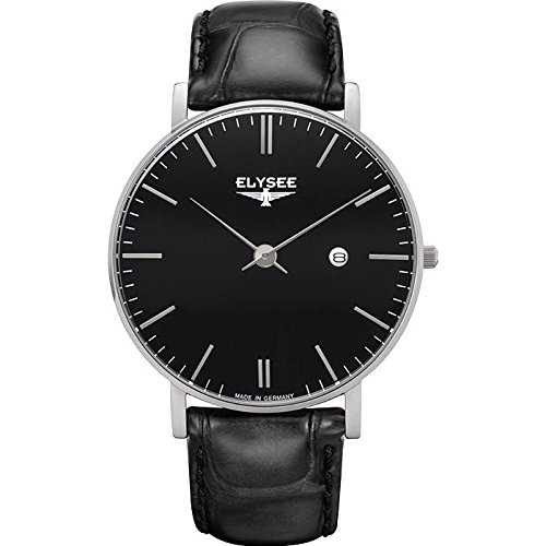 ELYSEE Men's Zelos 40mm Black Leather Band Steel Case Anti Reflective Sapphire Quartz Analog Watch 98001