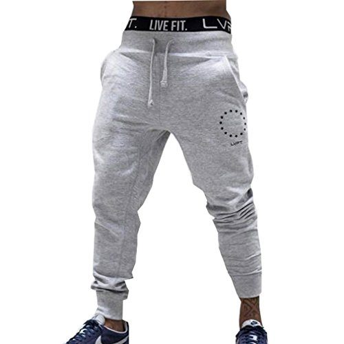 WTUS Pantaloni sportivi uomo cotone Slim Fit Pantaloni allenamento Nero Grigio