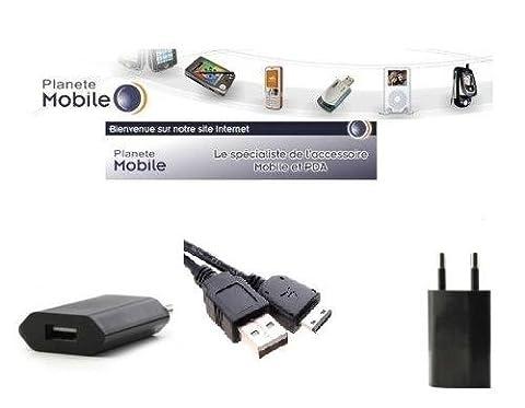 PlaneteMobile -KIT 2/1 Cable Usb Data + Chargeur Pour Samsung GT-E1107 Crest Solar
