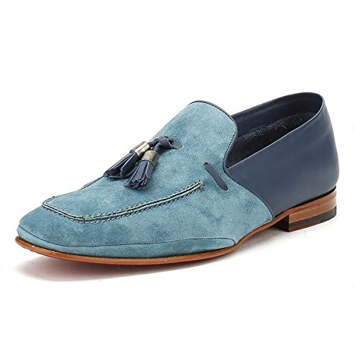 Jeffery West Hommes Croste Bovino Seta Bleu Martini Mule Loafer