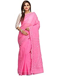 ADA Women's Cotton Hand Embroidered Lucknow Chikan Work Saree With Blouse Piece (A192025_Pink)