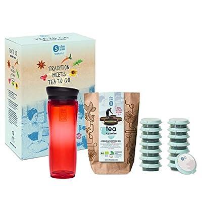Shuyao Tea to Go Théière avec infuseur intégré + 5 x 3 Loser Bio Thé avec caféine Rouge 45 g