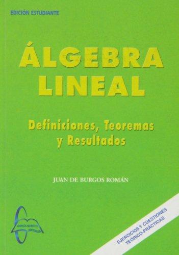 Algebra lineal - definiciones, teoremas y resultados por Juan De Burgos Roman