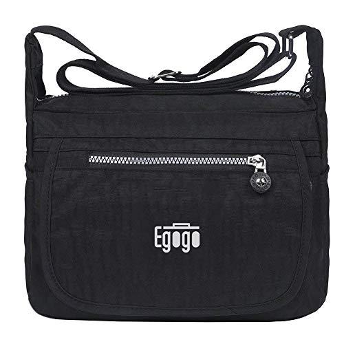 EGOGO Wasserdicht Nylon Damen Casual Umhängetasche Messengertasche Schultertasche Henkeltasche (Schwarz) - D&g Damen Handtaschen