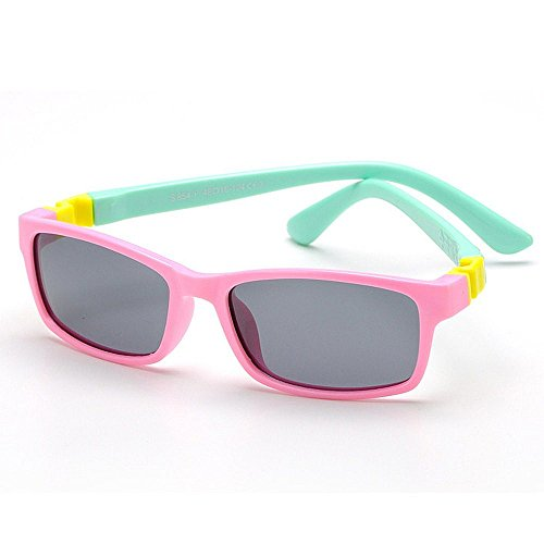 Yiph-Sunglass Sonnenbrillen Mode Silica Gel Full Frame Kids Polarized Sonnenbrillen mit Etui UV-Schutz für Jungen Mädchen Alter 3 bis 10 (Farbe : Rosa)