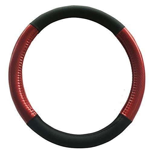 Auto Lenkradbezug Mikrofaser Leder Kohlenstoff Muster Klassische Massage Licht Spleißen (rot) -