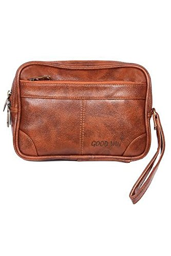 Handcuffs Cash Pouch/ Money Carrying Pouch/ Multipurpose travel Pouch Leather Rust colour