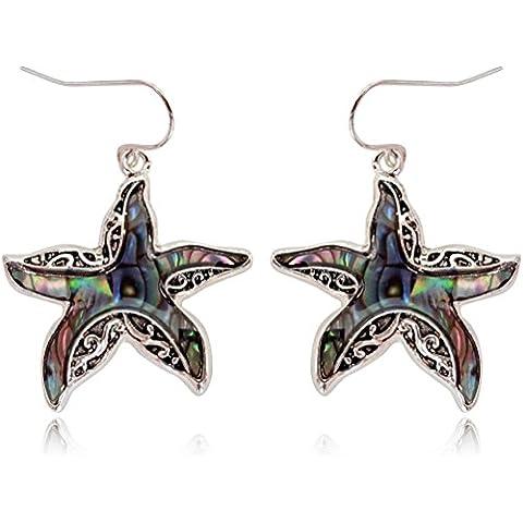 Impresionante Abulón iridiscente Mar Estrella de mar Encanto Dangle Pendientes Regalo Para Las Mujeres y