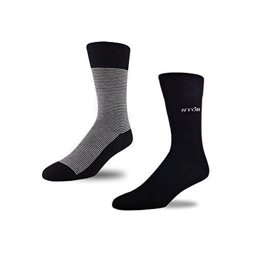 Preisvergleich Produktbild STÓR Herren Bambus Socken [2er Pack] , Antibakterielle, atmungsaktive Herrensocken mit 80% Bambusfaser-Anteil! superweiches und luxuriöses Material (Gross (43-46EU / 9-12UK), Grau/Schwarz)
