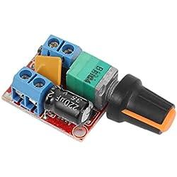 WINGONEER Controlador de velocidad del motor DC Controlador 3V-35V 5A Controlador PWM DC Stepless 3V 6V 12V 24V 35V Regulador de voltaje variable Dimmer Regulador Conmutación Build con indicador LED y función de interruptor