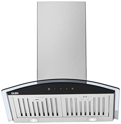 Glen 60cm 1000 m3/h Wall Mount Kitchen Chimney (6071 SX TS, Baffle Filter, Touch Sensor control, Silver)