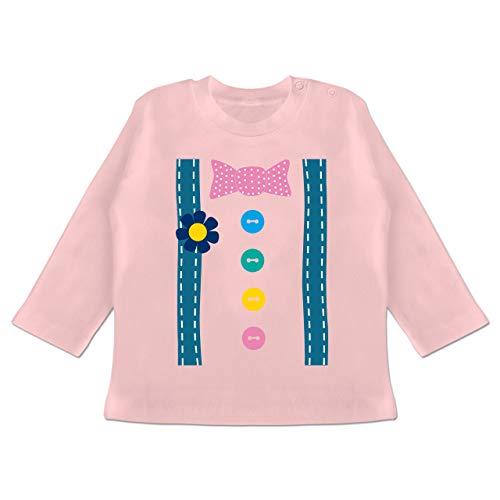Karneval und Fasching Baby - Clown Kostüm - 12-18 Monate - Babyrosa - BZ11 - Baby T-Shirt Langarm (Clown Kid Kostüme)