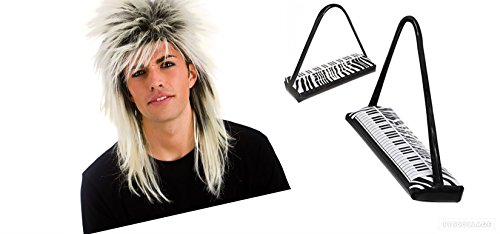 80s Inflatable Keyboard and Wig Set