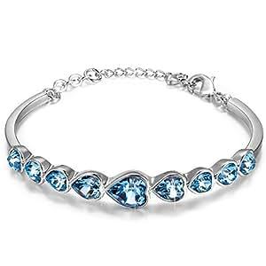 pauline morgen amour bracelet femme cristaux de swarovski bleu plaque or blanc bijoux. Black Bedroom Furniture Sets. Home Design Ideas