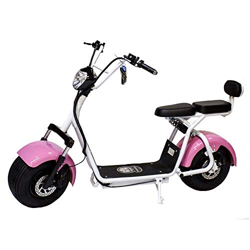 Moto eléctrica Citycoco Last Mille. Potencia 1400W/12Ah. Color Rosa/Blanco. Versión IV