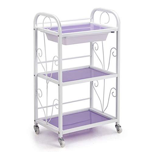 Chariots Salon de verre 3-chariot chariot coiffeur spa tiroirs beauté coiffeur, 46,5 × 30 × 80 cm (Couleur : Purple)