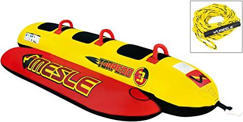 MESLE Skibob Package Torpedo 3, Set incl. Zugleine, 3 Personen Fun-Tube, Towable-Tube, rot gelb, incl. Reparaturset, aufblasbar, Bananen-Boot, Kinder & Erwachsene, 840 D Nylon, Speed-Wassergleiter