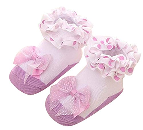 Socken Fußboden-Socken-neugeborene Baby-Socken-Stereoanlage , Licht lila (Trumpette Baby-mädchen)