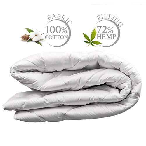 Bettdecke 140x200 cm Leichte Sommer Steppdecke Atmungsaktiv Sommerdecke aus Naturfasern, Weiß ()
