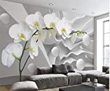 Wandbild Abstrakt Schmetterling Orchidee Blume 3D Wandbild Tapete Für Sofa Hintergrund 3D Foto Wandbild Wandpapier 250X180 Cm,Yzra