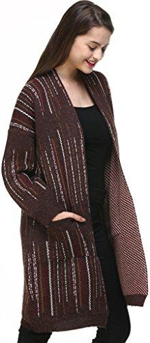 Vogueearth Fashion Femme's Longue Manche Knit Printed Pocket Sweater Chandail Tricots Longue Manteau Blousons Coat Veste Open Cardigan Marron