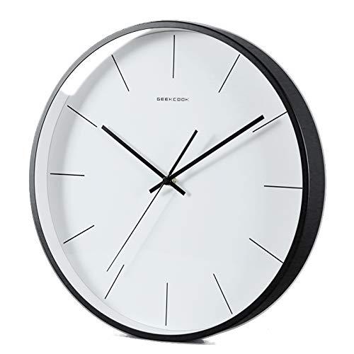 Everyday home Nordique moderne minimaliste quartz silencieux horloge murale chambre étude maison ornements suspendus (12 pouces, 14 pouces) (Couleur : NOIR, taille : 14inches)