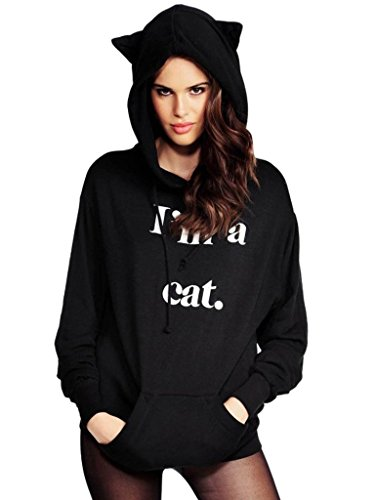 Damen Cartoon Langarm Kostüm Hoodies Mit Kapuze Tier Cosplay Sweatshirt Casual Wear Niedlich Katze Tops Casual Pullover (S, (Kostüme Katze Tier)