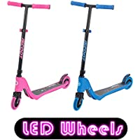 iScoot X10 Neon Light Weight Kick Scooter with Light Up LED Wheels T-Bar Bobbi Board for Boys/Girls/Children/Kids - Ages 5-12