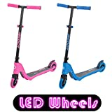 iScoot X10 Neon Pink Light Weight Kick Scooter with Light Up LED Wheels T-Bar Bobbi Board for Boys/Girls/Children/Kids - Ages 5-12