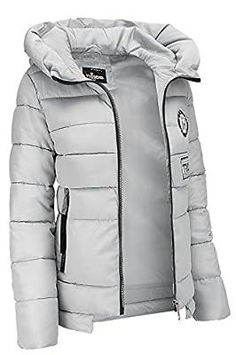Trisens Damenjacke Winter Stepp Jacke Designer Kapuze Dauen Optik Kurz Mantel