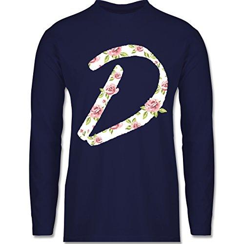 Shirtracer Anfangsbuchstaben - D Rosen - Herren Langarmshirt Navy Blau